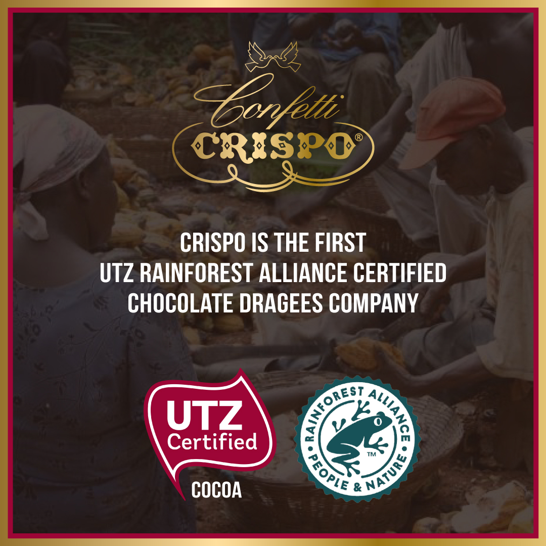 Chocolate dragees Crispo are UTZ certified